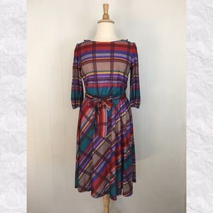 Vintage Plaid 3/4 Sleeve A-Line Day Dress
